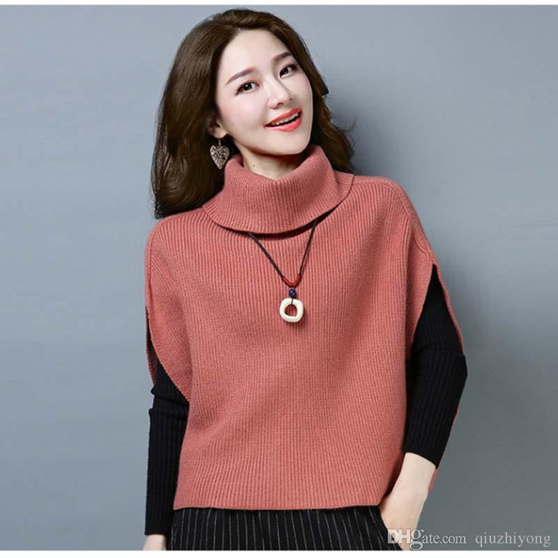 2019 Women S High Collar Sleeveless Sweater Fashion Bat Pullover Knitted  Bottoming Shirts Fashion Autumn And Winter Tops From Qiuzhiyong 649b9bd0a