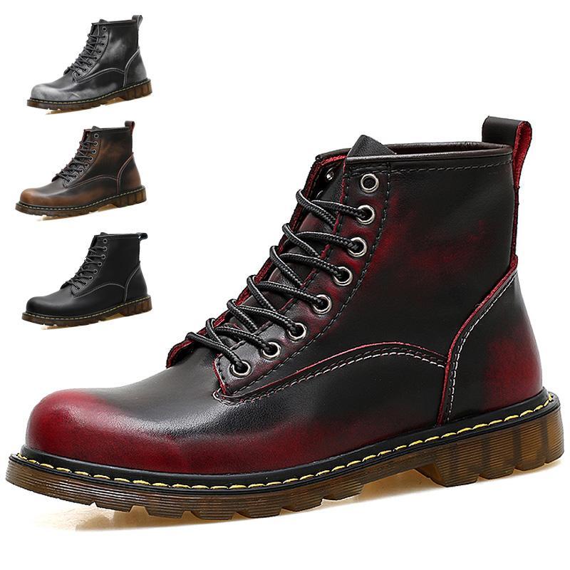 Chaussures Bottes Pour Hommes Bottes De Travail En Cuir Imperméables Et Légères Baskets Chaussures Bottes Martin En Cuir Rétro