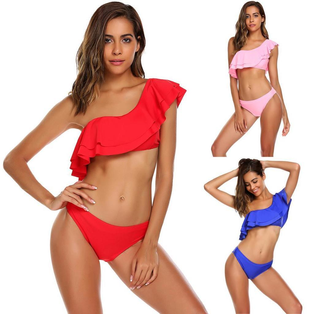 1d8efcb2a5 2019 Women Two Pieces Bikini Set One Shoulder Ruffled Swimwear Beach Wear  From Arrange1