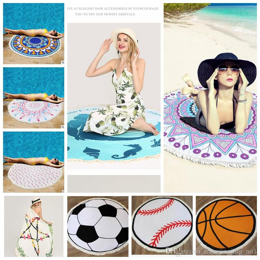 40 Design Round Blanket Tassels Round Beach Towel Outdoor Picnic Simple Soccer Blankets And Throws