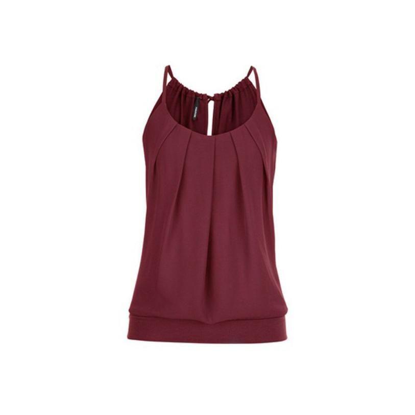 4f7edda4676e7 Women Summer Loose Wrinkled O Neck Cami Tank Tops Vest Blouse Camis ...