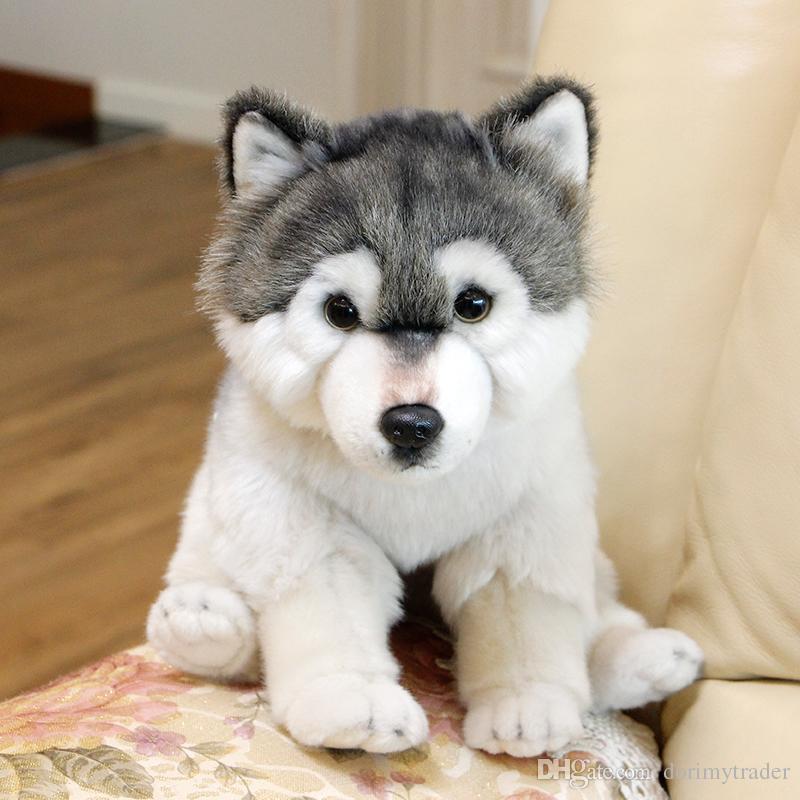 Dorimytrader Qualität weiche Simulation Tierwolf Plüschpuppe Mini gefüllte Husky Hundespielzeug Heimtiere Kinder Geschenk 27x16x24cm DY50120