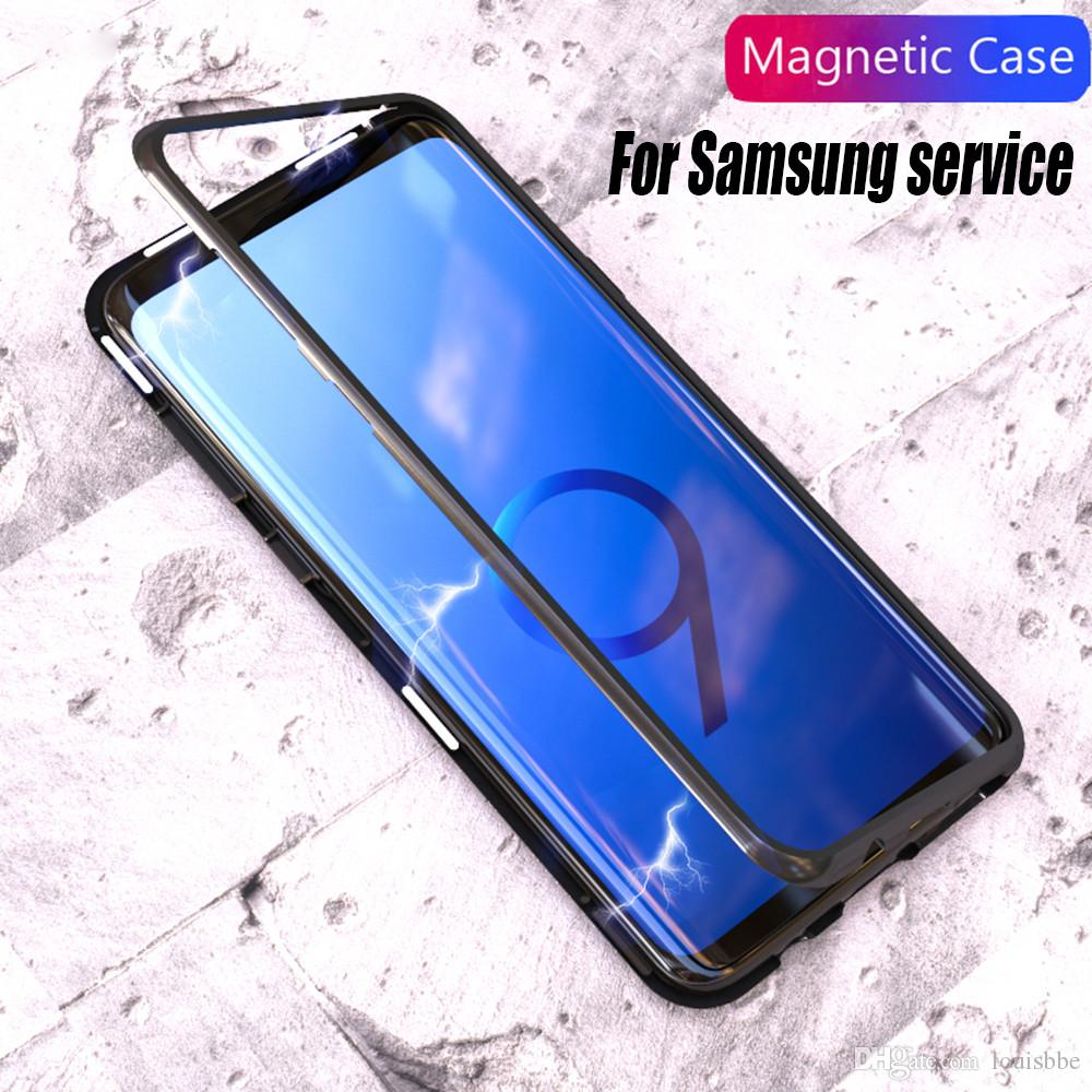 best loved f0f74 8949b Magnetic Adsorption Flip Case for Samsung Galaxy S8 S9 Plus Note8 note9 S7  Edge Tempered Glass Back Metal Bumper Case for iphone XSmax XR X