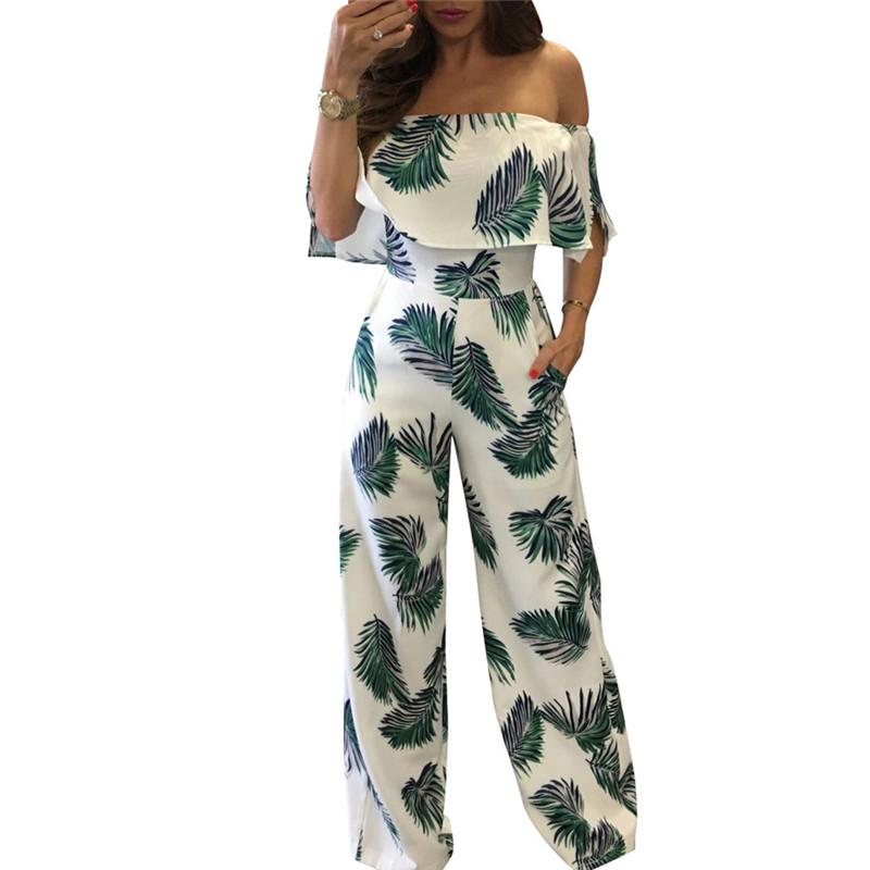 41d6fa4720e 2019 Women Summer Strapless Rompers Beach LePrint Jumpsuits Off Shoulder  Wide Long Pants Female Overalls From Xx2015