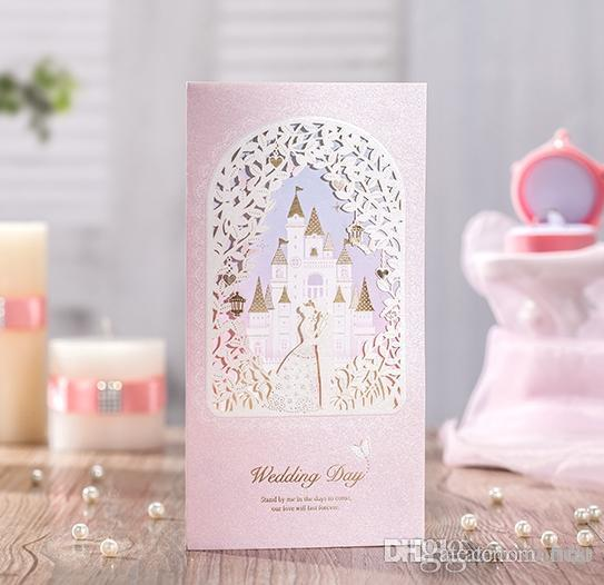 Laser cut wedding invitations cards Personalized Gold Lace Castle Wedding Cards Invitations Unique Pink Wedding Invitations