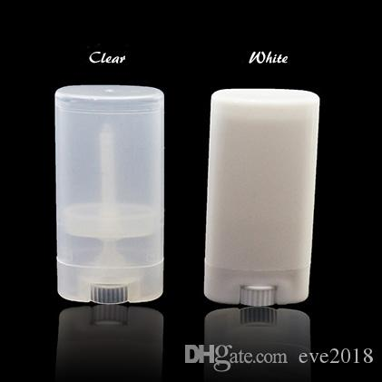 Портативный DIY 15мл Clear White Plastic Слейте Овальный Lip Balm трубы Дезодорант Контейнеры Бесплатная доставка LX2264