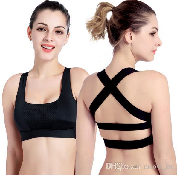9a346795a6ae3a 2019 Solid Cross Strap Black Yoga Bra Women Padded Push Up Sports Bra Quick  Dry Fitted Gym Workout Fitness Crop Top Bras From Meow jay