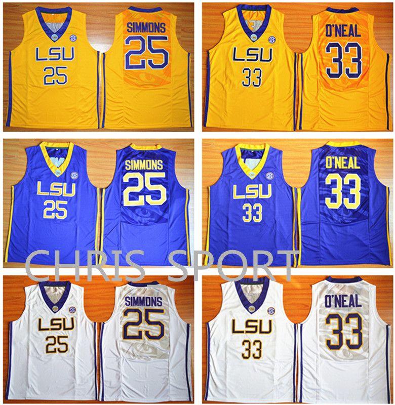 1e4d294a7 LSU College Basketball Jerseys Tigers Player Wear  25 Ben Simmons  33  Shaquille O Neal University Game Uniform Ben Simmons Basketball Jerseys  Shaquille ...