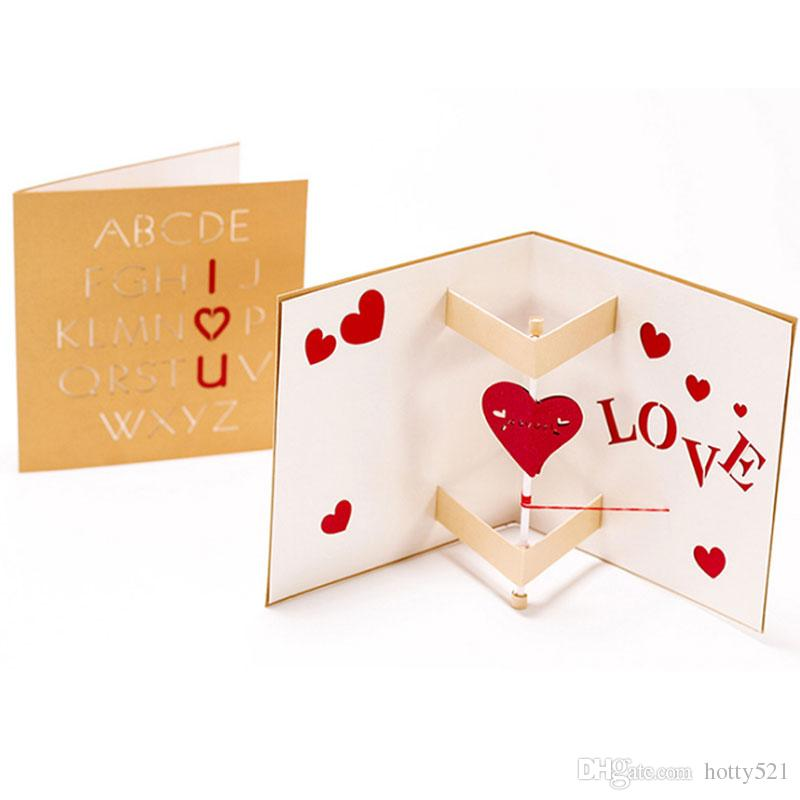 New 3D Pop Up Cards Love Heart Valentine Lover Happy Birthday Festive Greeting Card For From Hotty521