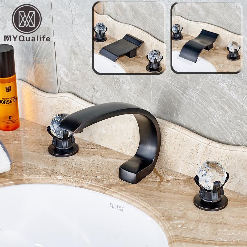 2019 2016 New Dual Crystal Knobs Deck Mount Waterfall Bathroom Sink