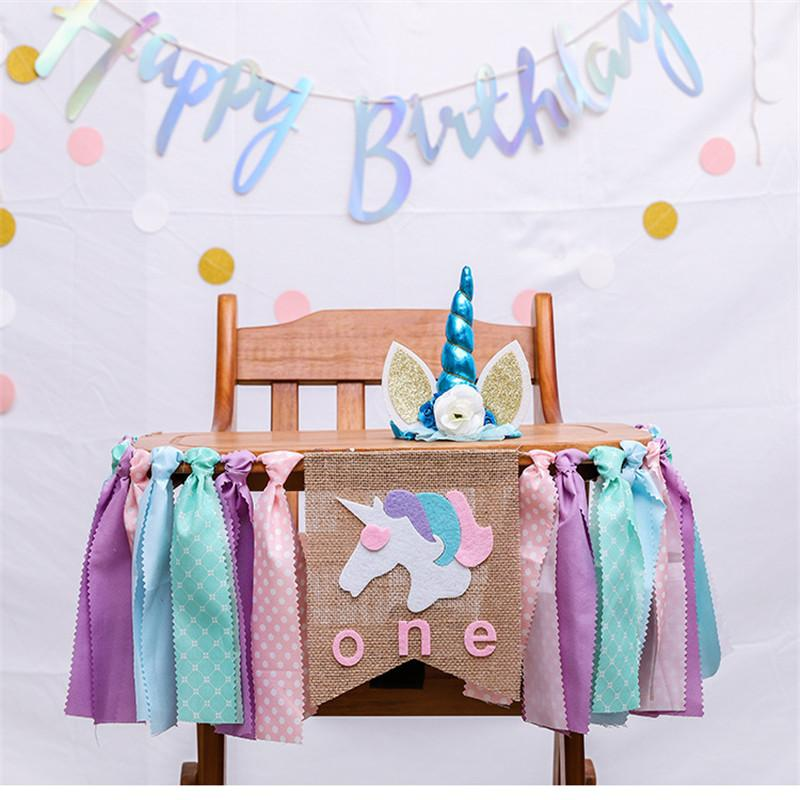 Unicorn Party Baby Girl Boy 1st Birthday Garland Bunting Decorations Blue Pink Hanging Banners Confetti Cannon Diy Wedding From