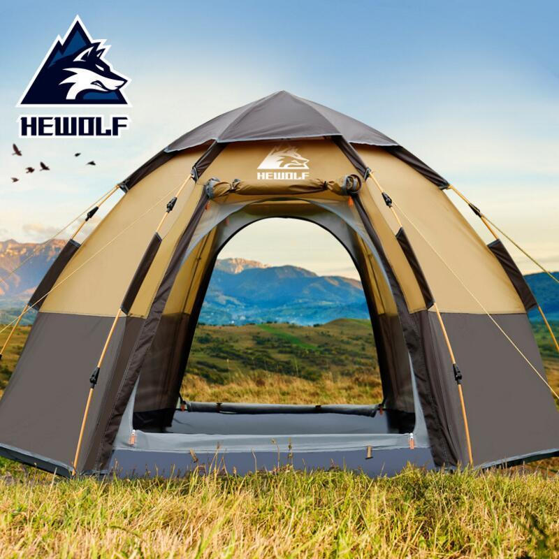 2019 Hewolf Quick Automatic Open Tent 5 Person Double Layer Large C&ing Family For Outdoor Recreation Party Tents Awning Beach Tent Shelter Jobs Shelters ... & 2019 Hewolf Quick Automatic Open Tent 5 Person Double Layer Large ...