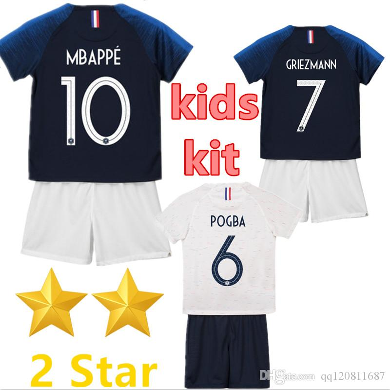 2 Stars French Kids Kit GRIEZMANN MBAPPE POGBA Soccer Jerseys 2018 ... abd66bac4