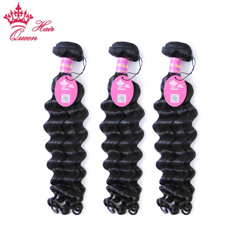 "Queen Hair products 100% Brazilian virgin hair extensions human weft more wave 3pcs/lot 12""-28"" unprocessed hair DHL Free"
