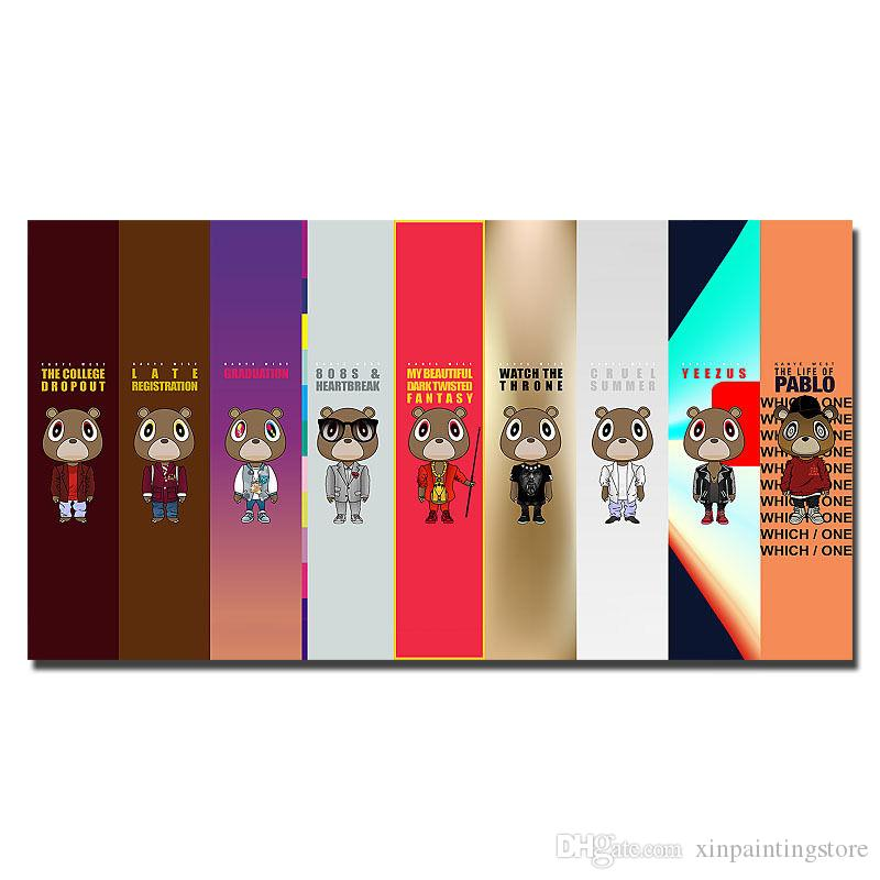 b167060eacb33 Kanye West Rap HipHop Music Star Tour comic Cover poster Modern Unframed  Wall Pictures Abstract Canvas Home Decor