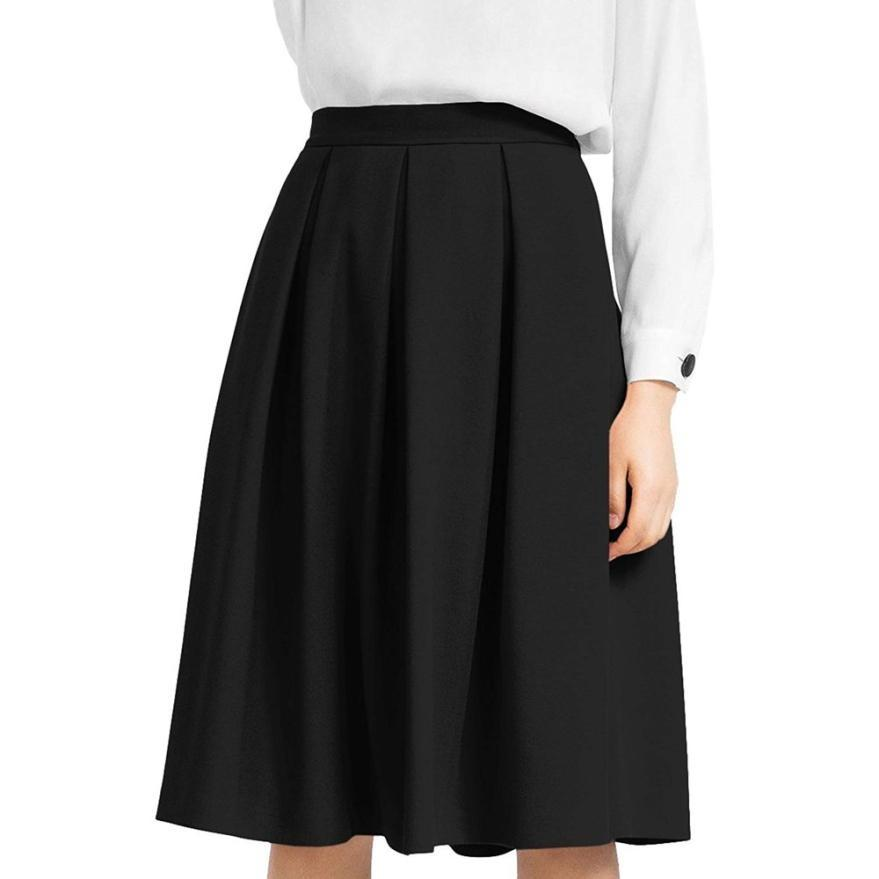 bf9636c21 faldas para mujer Summer Black High Waisted Lápiz Falda acampanada plisada  Midi Below Knee Skirt con bolsillo Sexy School Girl Faldas