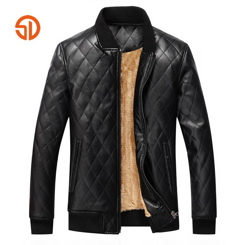 f161ab0a148 2019 Winter Leather Bomber Jacket Mens Fashion Wash Men s Pu Leather Coat  Fleece Jackets Man Black Faux Coats Men S XXL From Cactuse