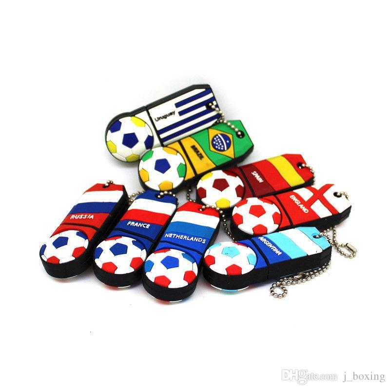 2018 Copa del Mundo de Fútbol de Dibujos Animados Bandera 32 GB Unidades USB Memorias USB de Fútbol Fans del Equipo Nacional de Regalo para PC Portátil Macbook Memory Stick