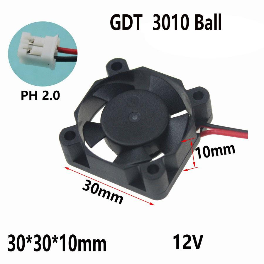5 pcs/lot Gdstime Hot New Ball Bearing Fan 3cm 30mm 30 x 30 x 10mm 12V 2 Pin Mini DC Brushless Cooling Cooler