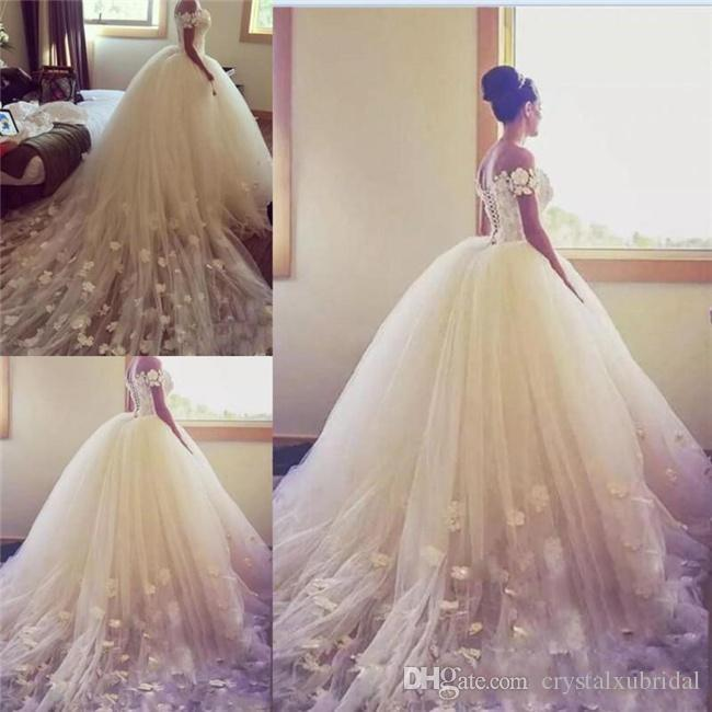 2018 New Sexy Ball Gown Wedding Dresses Off Shoulder Handmade Flowers  Appliques Lace Chapel Train Tulle Backless Lace Up Formal Bridal Gowns Huge Ball  Gown ... 58a7415292b0