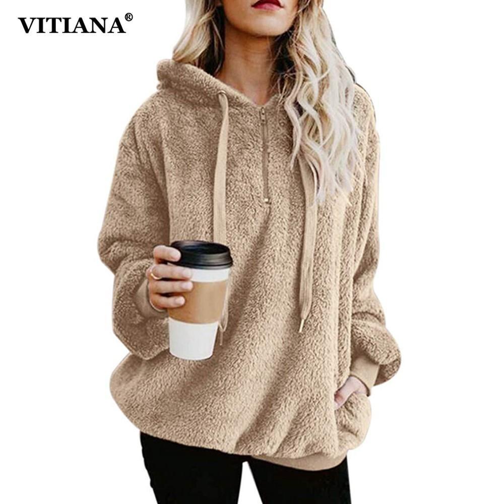 2019 VITIANA Women Plus Size 5XL Casual Faux Fur Coat Female 2018 Autumn  Winter Elegant Loose Warm Soft Outwear Zipper Outwear Jacket From Sikaku 286a3b8eb019