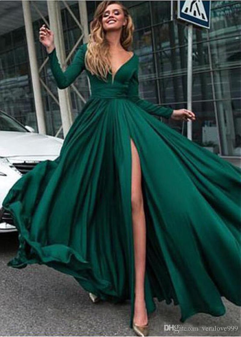 großhandel schöne chiffon v ausschnitt long sleeves abendkleider a linie  sexy slit grün einfache prom party kleider plus size lange abendkleider von