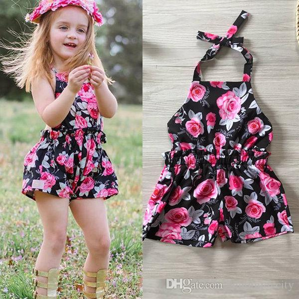 14450505a Newborn Baby Girls Floral Cotton Casual Sleeveless Overalls Jumpsuit ...