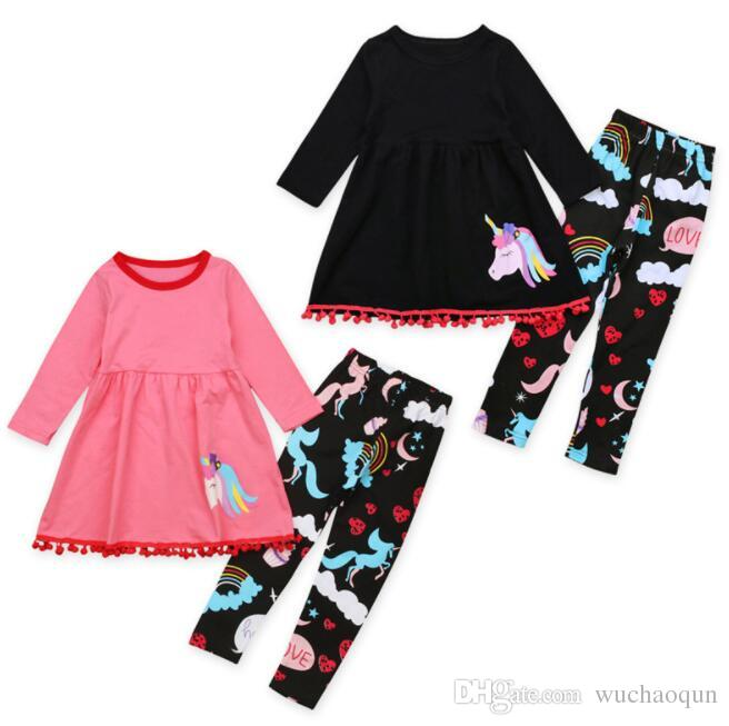 d3a030a0f 2019 2018 Fall Baby Girl Clothes Kids Boutique Clothing Sets Girls Tassel Dresses  Long Sleeve Top Unicorn Pants Rainbow Legging Childrens Outfits From ...