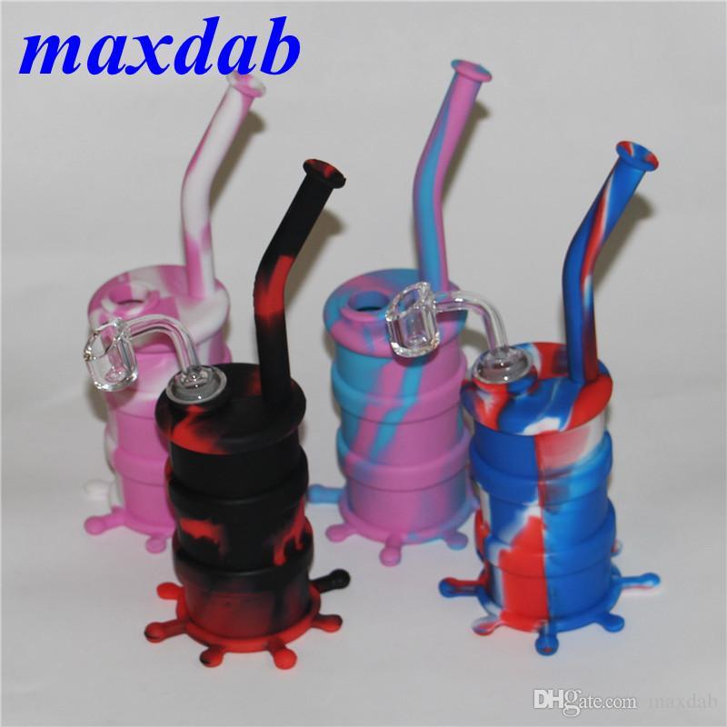 Silikon-Hukahn-Bongs-Silikon-Öl-DAB-Rigs-Rohre mit klarem 4mm 14mm männlich Quarz Banger Nägel Rauchen Wasserpfeife