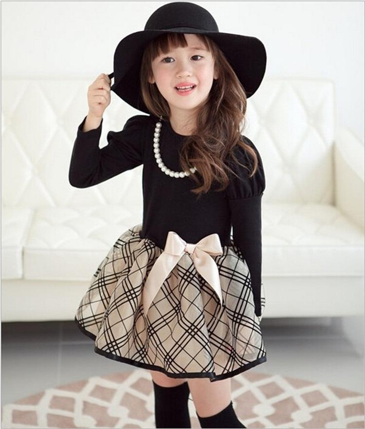 Neue Mode Herbst Winter Mädchen Kleid Polka DotStriped Prinzessin Party Kleider Mädchen Kinder Baby Kleidung Kinder Kleidung