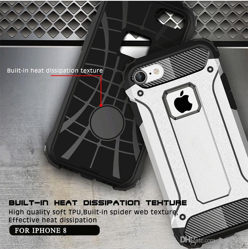 Luxury Case for iPhone8 360° Hybrid Shockproof Armor TPU plastic covers Rubber Hard Back Cover Phone Shell For iPhone 8 Plus