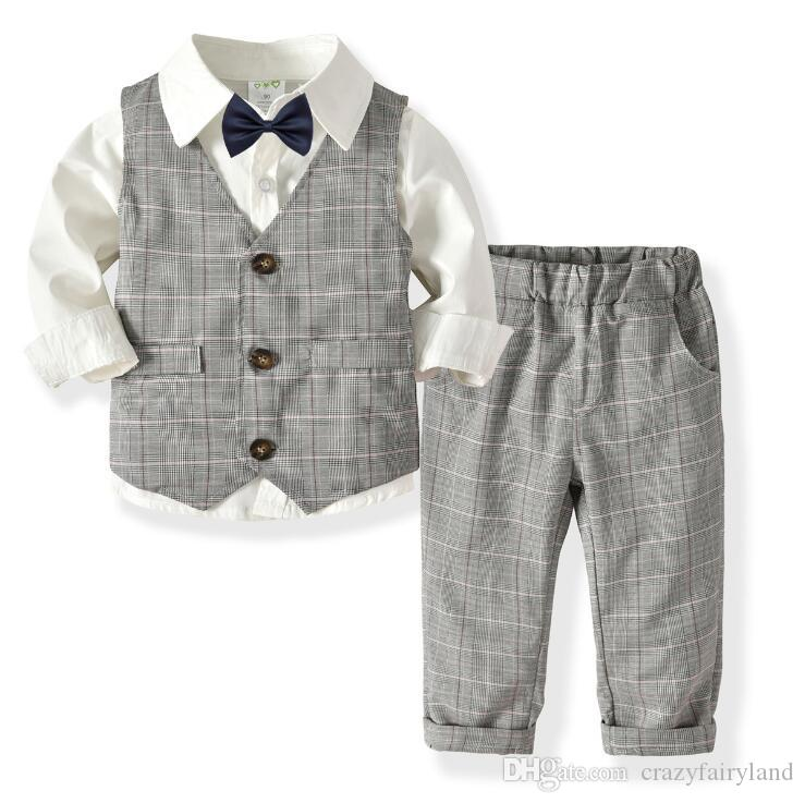 33aa041f1 2019 Baby Boys Plaid Vest Suit Outfits Sets Formal Clothes Winter ...