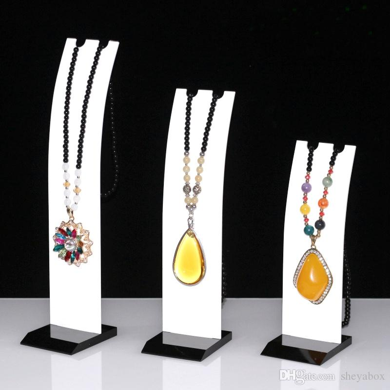 Acrylic Large Pendant Necklace Display Stand Jewelry Chain Charm Necklace Earring Displays for Kiosk Trade Show Stall Boutique Shelf Set