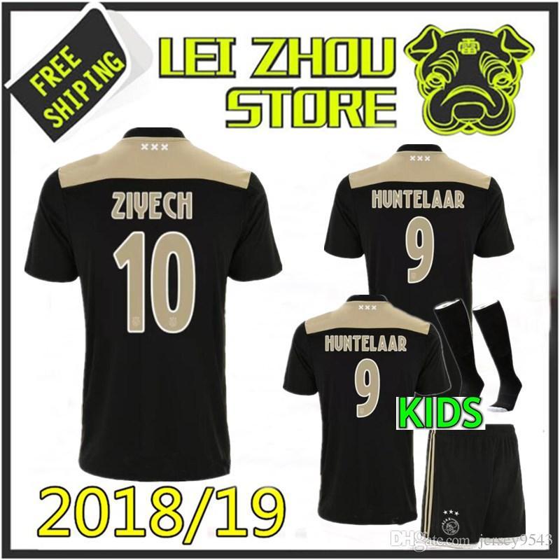 de58fbdce Man Child 2018 Ajax Home Soccer Jersey 18 19 Ajax Kids Away Blue ...
