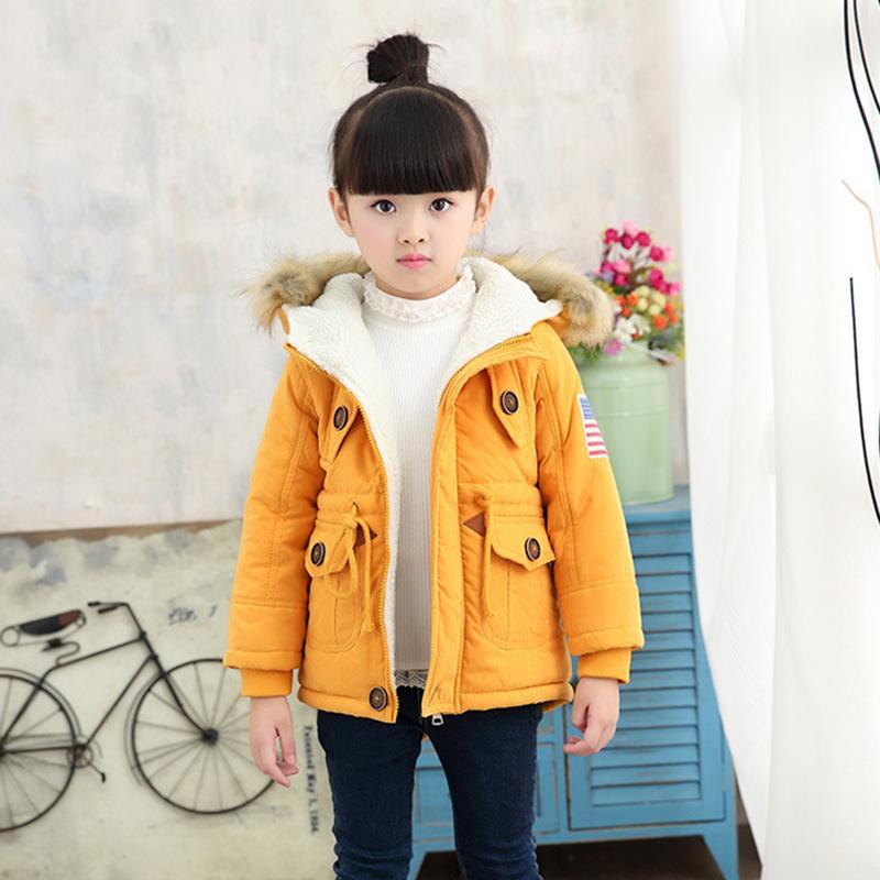 2-8T niñas niños abrigos y chaquetas 2017 otoño invierno niños coreanos EE. UU. Bandera abrigo con capucha grueso algodón más cálido niños abrigo de invierno niñas