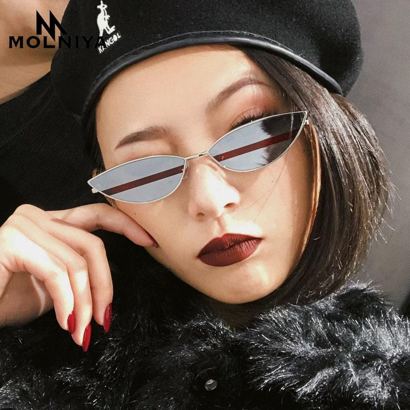 5f7d1229bc1f6 MOLNIYA 2018 Small Sunglasses Women Fashion Red Sexy Cat Eye Sun Glasses  For Women Summer Accessories Metal Frame Candy Color Electric Sunglasses  Fastrack ...