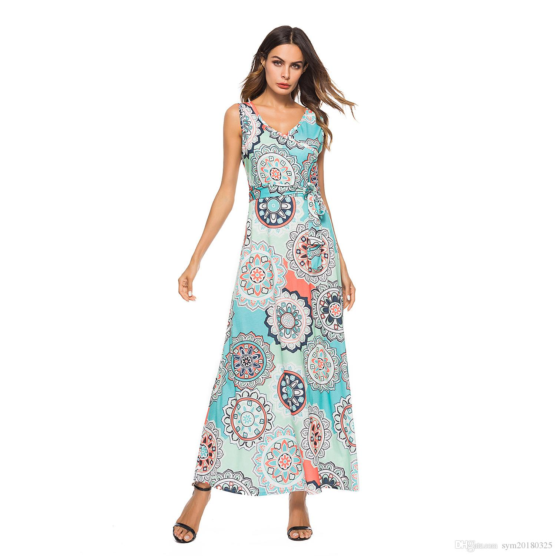 2018 novo verão Elemento de impressão Lace-up sem mangas das Mulheres vestido de cintura Média vestido Clássico Swing tipo saia Longa