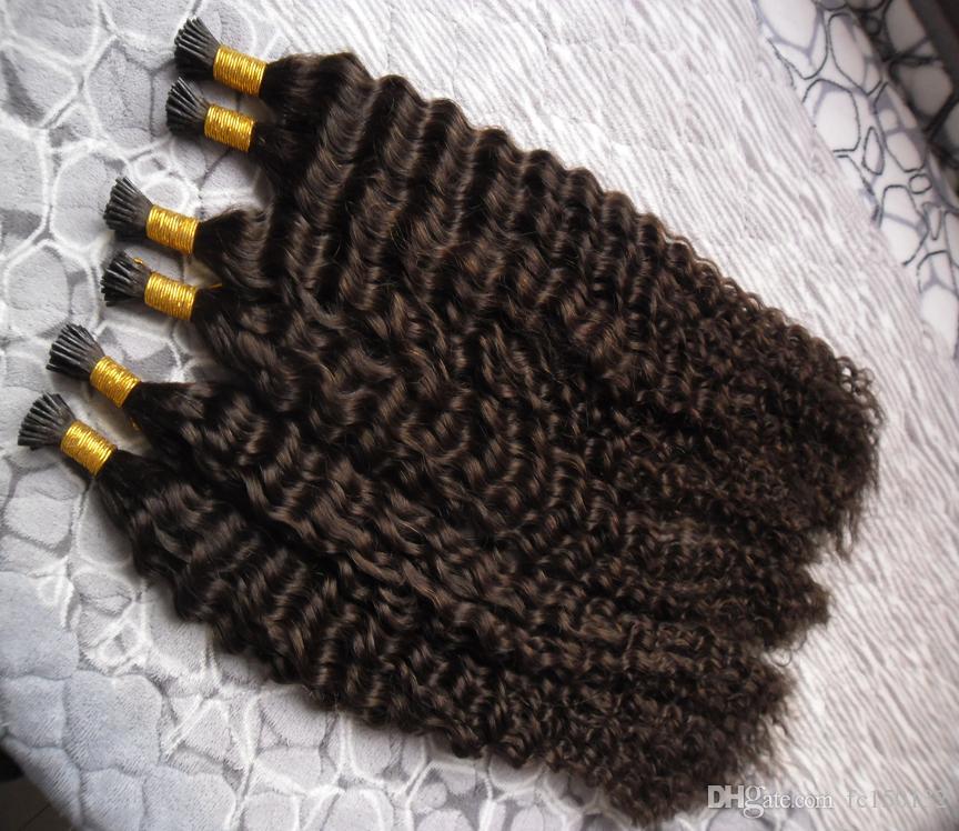 Бразильские глубокие вьющиеся волосы, которые я наклоняю Наращивание волос 300 г / пряди Кератиновый карандаш
