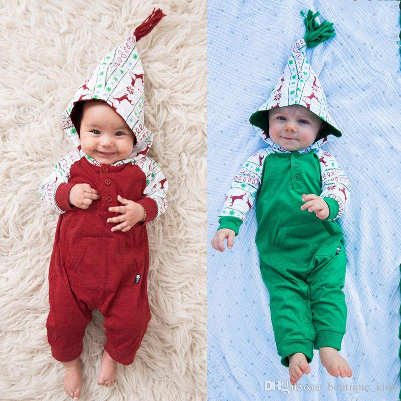 57b09c620 2019 New Born Baby Boy Girl Clothes Deer Print Christmas Romper Cotton Kids  Clothes Hooded Romper Jumpsuit Outfit Infant Toddler Clothing 0 24M From ...