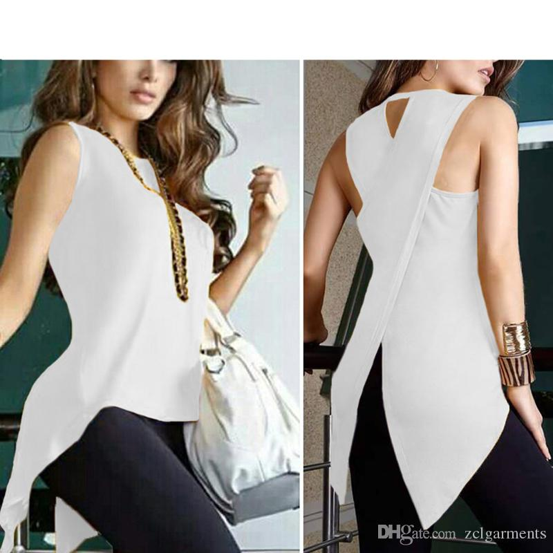 07452cb7ce80 2019 New Women Asymmetry O Neck Tank Top Summer Split Sleeveless Vest Blouse  Ladies Fashion Long Irregular T Shirt Tops From Zclgarments