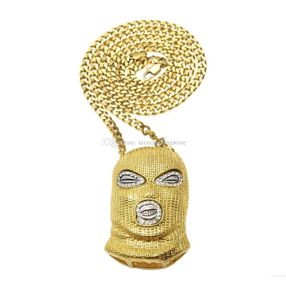 Hip Hop Men s CSGO Pendant Necklace Iced out Mask Head Charm Gold Silver Plated Long Cuban Link Chain For women Jewelry