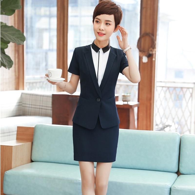 2018 Summer Uniform Styles Formal Blazers With Tops And Skirt Career