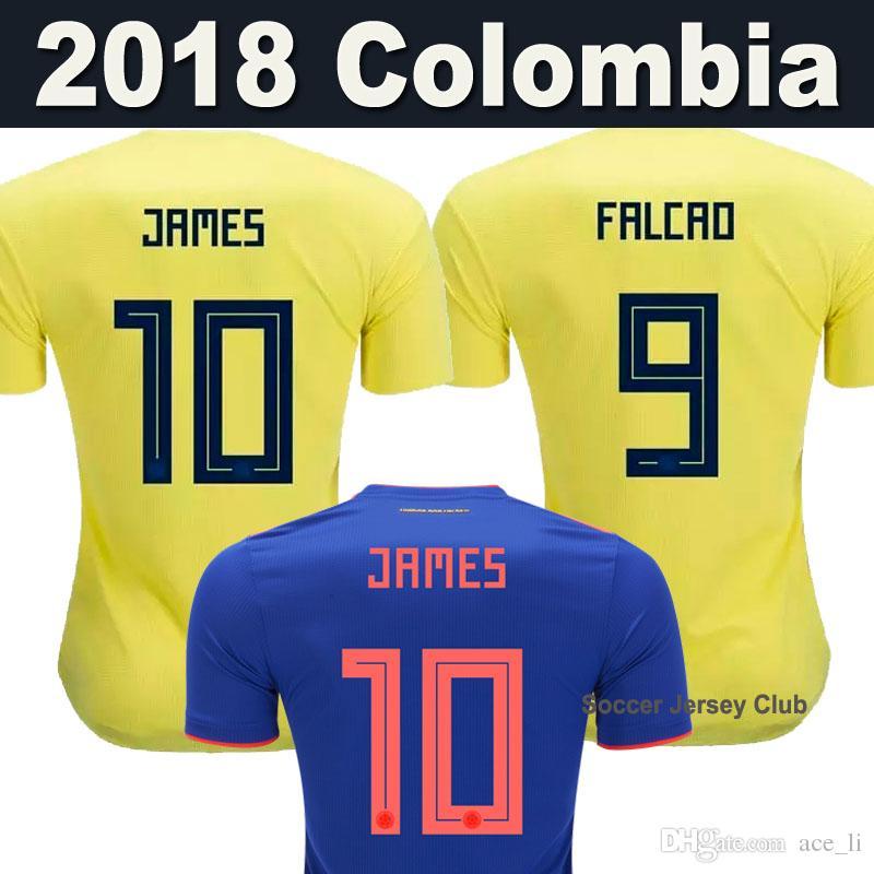 2aa99ff105 Compre Top Tailândia Seleção Nacional COLOMBIA Camisas De Futebol JAMES 2018  Copa Do Mundo Jersey FALCAO CUADRADO BACCA Camisa De Futebol De Futebol ...