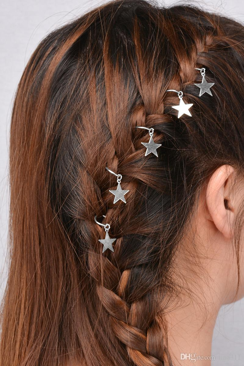 NEW Fashion NEW Metal Star Ring Shell Cross Star Bergamot Circle Leaves Shape Hairpin Girls' Hair Clips Women Barrettes T2C124
