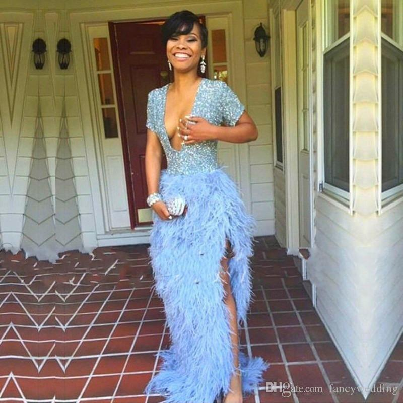 Deep V Neck Sexy Capped Thigh High Slits Feather Blue Sparkling Short Sleeves Floor Length Beautiful Evening Dresses