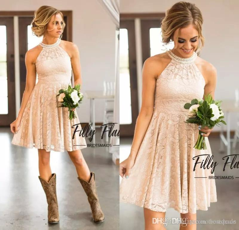 Short Lace Bridesmaid Dresses