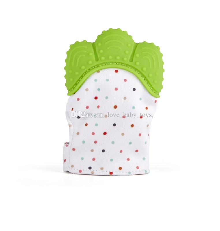Baby pacifier polka dots glove teething baby silicone mitt teething massage mitten teething glove gel candy opening sound teether