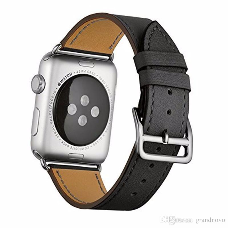 Good Genuine Leather Bracelet Wrist Straps Single Tour Replacement Watchband Band Sport For Apple Watch Series 4 3 2 1 40mm 44mm 38mm 42mm