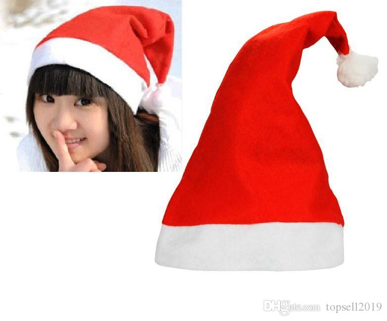 Red Santa Claus Hat Ultra Soft Plush Christmas Cosplay Hats Decoration Adults Party SN529