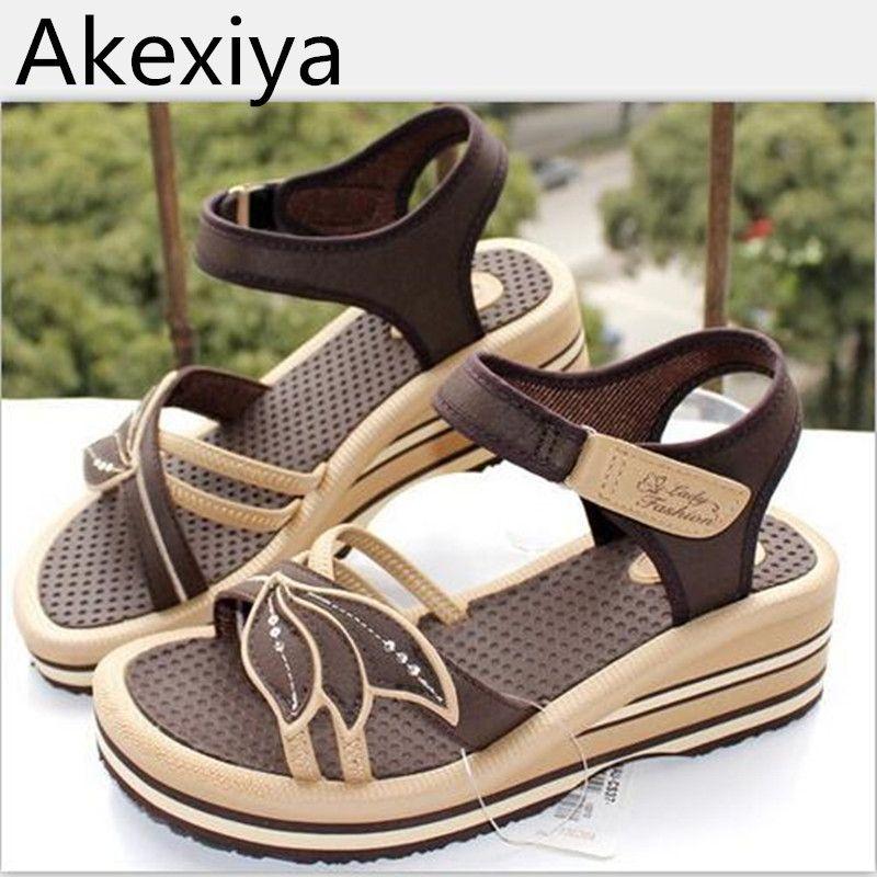 Female Akexiya Women's Vietnam Wedges Shoes Sandals Brief 4L5AjR